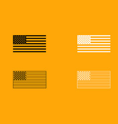 american flag set black and white icon vector image