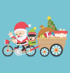 Christmas Santa Claus driving a bike have Elves vector image