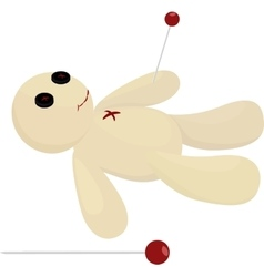 Halloween voodoo doll with pin vector image