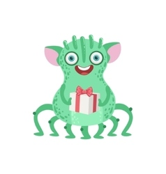 Many-legged Friendly Monster With Gift vector image