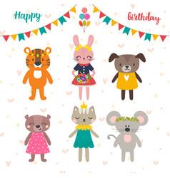 set of cute cartoon animals for happy birthday vector image