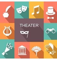 Theater acting icons set isolated vector image vector image