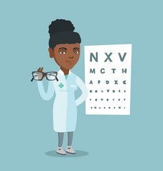 young african ophthalmologist holding eyeglasses vector image