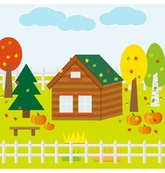 Autumn Garden with House Pumpkins vector image