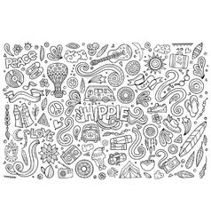 Line art set of hippie objects vector