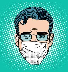 Retro Emoji sore virus infection medical mask face vector image vector image