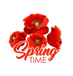 Spring flowers poppy bunch greeting poster vector