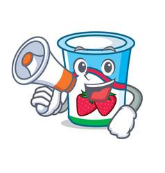 With megaphone yogurt character cartoon style vector