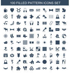 100 pattern icons vector image
