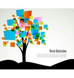 Abstract tree with square vector image