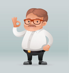 adult businessman worker ok sign icon retro vector image