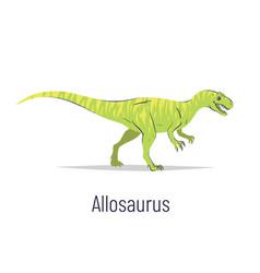 Allosaurus theropoda dinosaur colorful vector