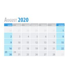 August calendar planner 2020 in clean minimal vector