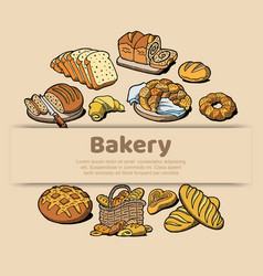 bakery or bread house sketch poster baked bread vector image