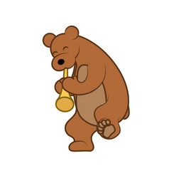 bear is playing a musical instrument pipe vector image