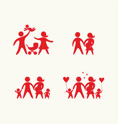 Big set of happy family vector