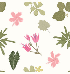 Bright colorful flowers green leaves exotic vector