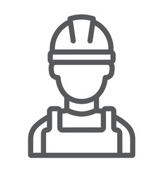 builder line icon engineer and man vector image