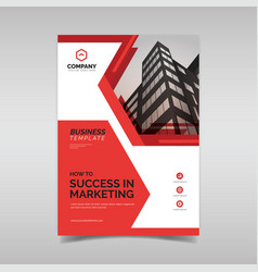 Business flyer template with red geometric shapes vector