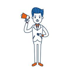businessman character holding speaker advertising vector image