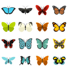 butterfly set flat icons vector image