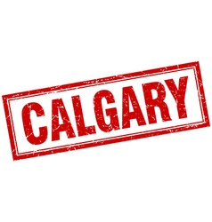 Calgary red square grunge stamp on white vector