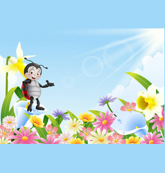 Cartoon ladybug in the flower field vector
