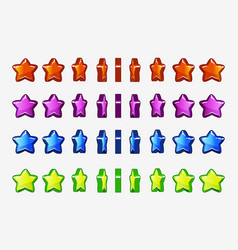 cartoon set of colored stars animation game turn vector image