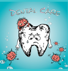 cartoon sick tooth with bacteria vector image