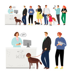 cat and dog hospital queue vector image