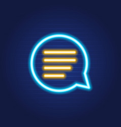 chat bubble phone simple luminous neon outline vector image