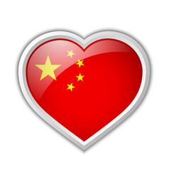 chinese flag heart shaped badge isolated on white vector image