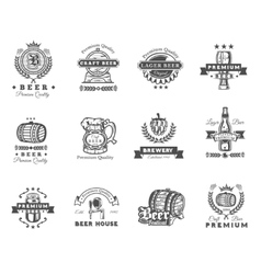 Collection of retro beer emblems badges stickers vector image