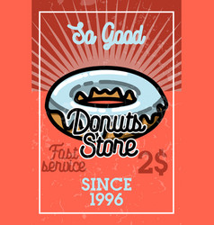 color vintage donuts store banner vector image