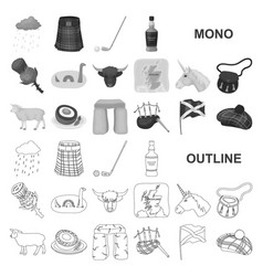 Country scotland monochrom icons in set collection vector