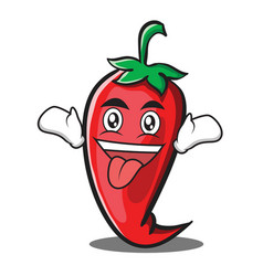 Crazy red chili character cartoon vector