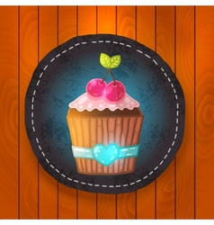cupcake with cream and cherry vector image