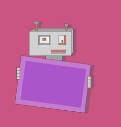 cute cartoon flat robot with banner vector image