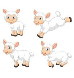 Cute cartoon sheep collection set isolated vector