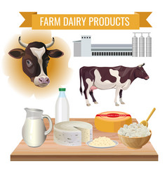 Dairy products from cow vector