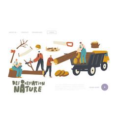Deforestation landing page template lumberjack vector