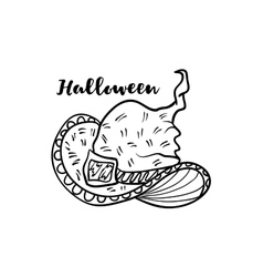Doodle cartoon witch hat for Halloween holiday vector image vector image