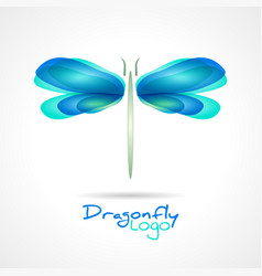 Dragonfly flat icon with soft transition colors vector