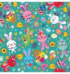 Easter bunnies pattern vector