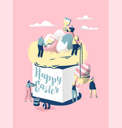 easter cake character make bread for celebrate vector image