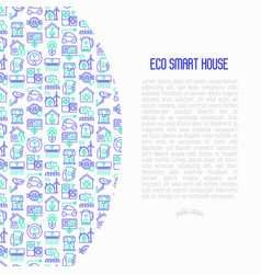 Eco smart house concept with thin line icons vector