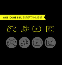 entertainment thin line icons set vector image