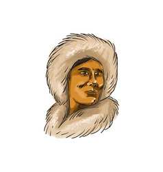 Eskimo Inuit Hooded Parka Watercolor vector