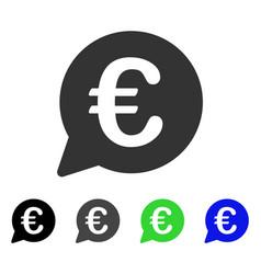 Euro message bubble flat icon vector