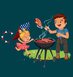 Family resting in park or garden dad grilling vector